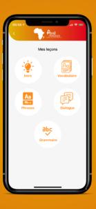 écran d'accueil de l'application afrilangues