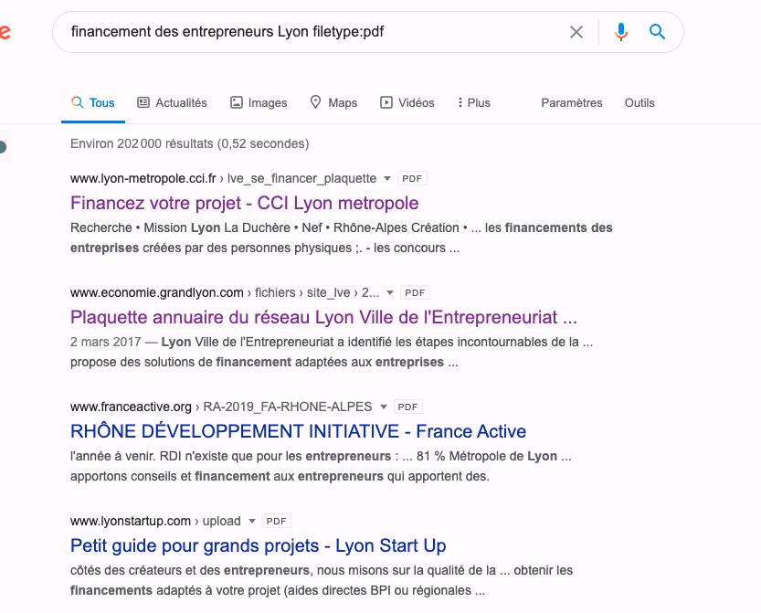Résultats de la recherche pour trouver les documents pdf qui parlent les financement des entrepreneurs à Lyon au format pdf